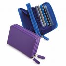 ILI Leather RFID Protective Zip Accordian Card Case